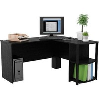 Ameriwood L-Shaped Desk with 2 Shelves, Black Ebony Ash