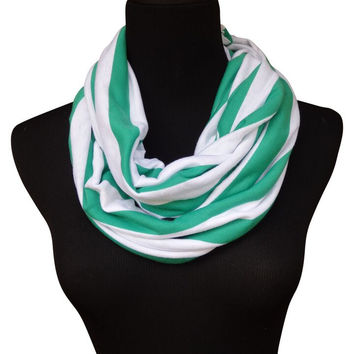 Kelly Green Stripe Infinity Scarf-Circle, Loop, Eternity All Seasons Scarf