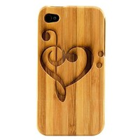 Boho Tronics TM Genuine Bamboo Amor Hearts Music Notes Love Case Cover Hard Natural Smooth Wood Skin - Compatible With Apple iPhone 4 4S 4G