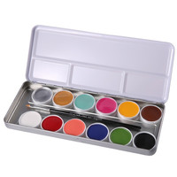 12 Tattoos Color Pigt Face Body Paint Oil Painting Art Make Up With Brushes Halloween Party Fancy Dress Makeup Tools