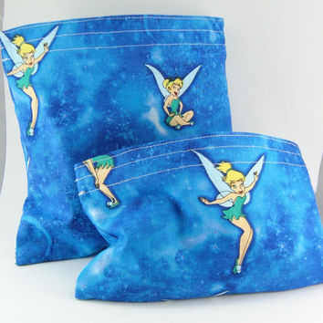 SALE Eco-friendly Reusable Sandwich and Snack Bags Set - Tinkerbell Blue Fairy Party Favor Kid Girly Children Pouch - 2 sacs - Ready to ship