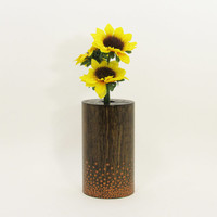 Wood Bud Vase, Wood Test Tube Vase, One Flower Vase, Wooden Bud Vase Centerpiece, Painted Vase, Rustic Home, Home Decor,  Bronze Dots