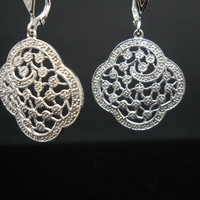 Filigree Diamond Accent Earrings Sterling Silver 925 Floral Dangle Drop