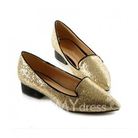 Trendy Style Women's Flat Shoes With Sequins and Pointed Toe Design