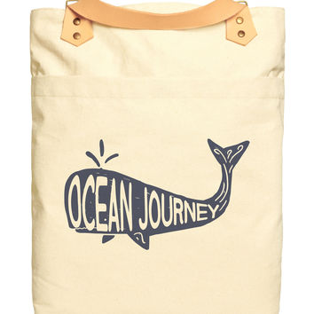 Ocean Journey Vintage Beige Print Canvas Leather Straps Laptop Backpack WAS_34