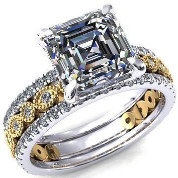 Lizette Asscher Moissanite 4 Claw Prong 3/4 Eternity Milgrain Diamond Shank Engagement Ring