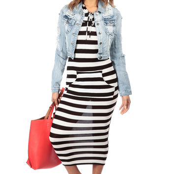 Striped Body Con Maxi Dress