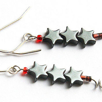 Computer Earrings, Eco friendly Jewelry, Red DIODE and Hematite Star Earrings, Upcycled Electronics, Gray Metallic, Unique Techno Geek Chic