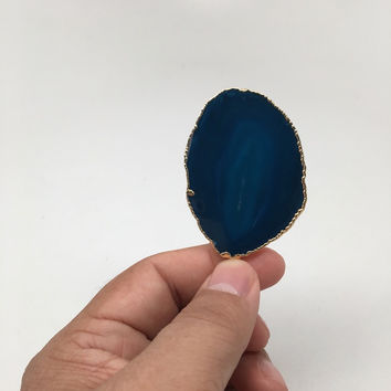 93.5 cts Blue Agate Druzy Slice Geode Pendant Gold Plated From Brazil, Bp1055