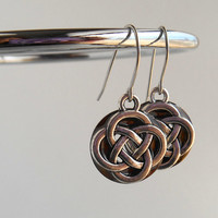 celtic knot earrings: brown - dangle earrings - irish earrings - celtic jewelry - endless knot - unique gift - mothers day