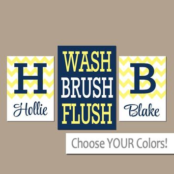 Brother Sister Bathroom Wall Art, CANVAS or Prints Monogram Personalized Name Navy Blue Yellow WASH Brush Flush Set of 3 Chevron Bathroom