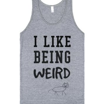 Vintage fit I like being Weird tank top tee t-shirt-Tank