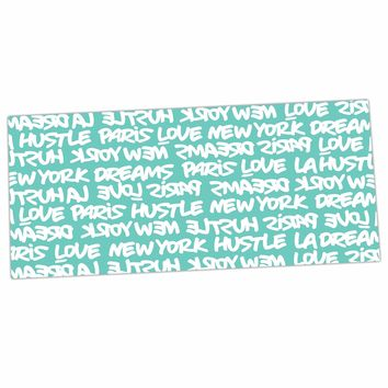 "Just L ""LUX WRITING WHT TEAL"" White Typography Desk Mat - Outlet Item"