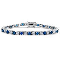 Bling Jewelry Blue Simulated Sapphire Cubic Zirconia Tennis Bracelet Rhodium Plated