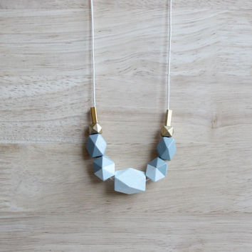 pastel wooden geometric necklace // ice blue gray dipped necklace for girls, women - minimalist everyday jewelry - eco-friendly