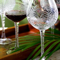 Etched Palm Red Wine Glass - Set of 2 | Main Site