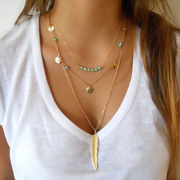 Hot Fashion Gold Plated Multilayer Coin Tassels Lariat Bar Necklaces Turquoise Beads Choker Feather Pendants Necklaces For Women