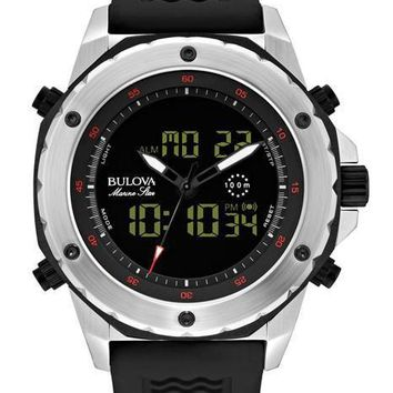 Bulova Mens Analog Digital Marine Star Chronograph with Alarm - Black