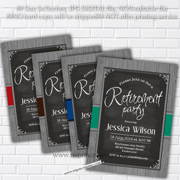 Retirement Invitations, Retirement party Invitation, Retirement Celebration retro vintage Invite, chalkboard - card - card 136