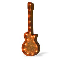 Guitar Vintage Marquee Lights Sign (Rustic)