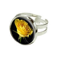 Yellow Rose - Love - Flower Silver Plated Adjustable Novelty Ring
