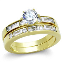 Baggette and Round CZ Gold Stainless Steel Wedding Ring Set