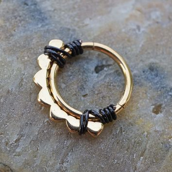 Lotus Flower Gold Daith Hoop Ring Rook Hoop Cartilage Helix