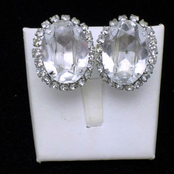 Vintage SCHREINER NY Glass Rhinestone Clip Earrings Bridal