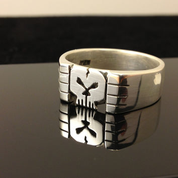 Sterling Silver 925 Skull Ring ( Hand Carved ) ( Thick Ring )