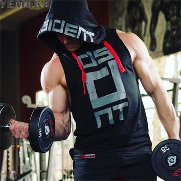 Cotton Tank Tops Hoodie Fitness Men Bodybuilding Workout Tee Cross fit Muscle Male Active wear Red black white