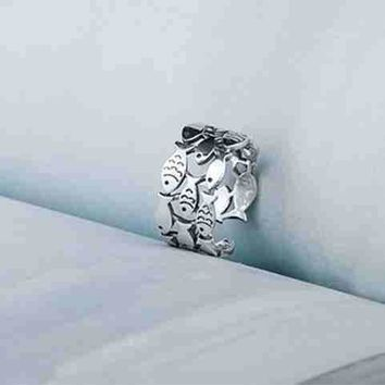 Adjustable .925 Sterling Silver Fish Ring