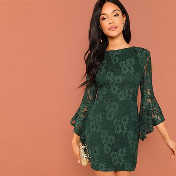 Green Going Out Round Neck Flounce Sleeve Guipure Lace Sheer Zipper Slim Bodycon Dress Elegant Women Dresses