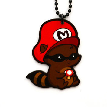 Raccoon Mario Charm Necklace by GeekyCuteCrochet on Etsy