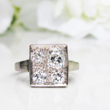 Art Deco Engagement Ring 0.78ctw Old Mine Cut Diamond Wedding Ring 14K White Gold Unique Custom Design Square Antique Engagement Ring