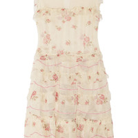 RED Valentino Tiered cotton-guaze and silk-chiffon dress – 65% at THE OUTNET.COM
