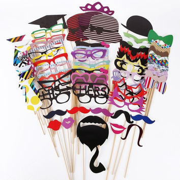 76pcs DIY Photo Booth Props Moustaches On A Stick Wedding Party Christmas = 1946563140