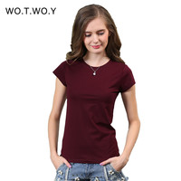 2016 Sale 18 Color Plus Size Plain T Shirt Women Casual Solid Basic Tshirt Woman Tops Cotton Short Sleeve T-shirt Femme 002