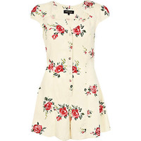 Cream floral cut out playsuit - playsuits - playsuits / jumpsuits - women