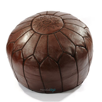 Moroccan Pouf, Chocolate Brown Leather Pouf, Round Ottoman Foot Stool Pouffe