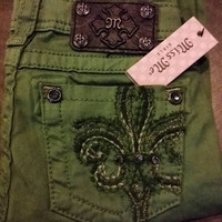 MISS ME LITTLE GIRLS FLEUR DE LIS HUNTER GREEN SKINNY JEANS