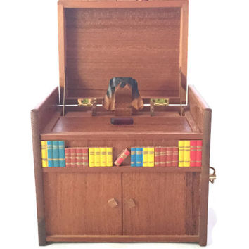 Wood Music Box Cigarette Dispenser Dog, Art Deco Dog Wood Cigarette Dispenser