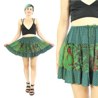 90s Floral Skater Skirt High Waisted Green Floral Print Mini Skirt Grunge Hippie Summer Festival Boho Mini Skirt Elastic Waist Skirt (XS)