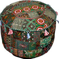 Bohemian Vintage Pouf Ottoman Embroidered Cocktail Ottoman Footstool Cover indian round ottoman stool pouf pillow Vintage Hassock Pouffe