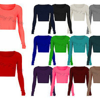 New Womens Long Sleeve Crop Top Round Neck T Shirt Ladies UK Size 8 10 12 14