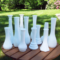 Wedding decor - Milk glass vases (Lot of 12) - Cottage chic - Country wedding - Restaurant decor (READY to ship)