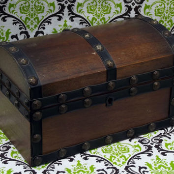 International Royal London Collection Hinged Wooden Keepsake Treasure Chest Jewelry Box