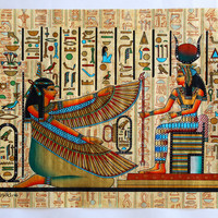 Maat and Isis | Ancient Egyptian Papyrus Painting