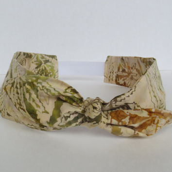 Pot leaf Batik headband - Ajustable bow headband - Cannabis Headband - Colorado handmade
