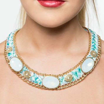 Under the Sea Turquoise & Purple Adorned Necklace