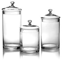 Glass Canisters w/ Silver Knobs, Set of 3, Kitchen Canisters, Canning & Spice Jars